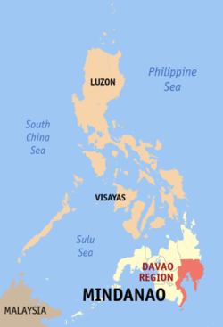 Map of the Philippines showing the location of Region XI
