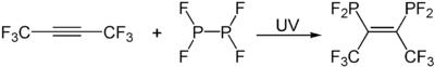 Addition von Phosphor(II)-fluorid an ein Alkin