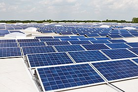 Solar PV modules mounted on a flat roof