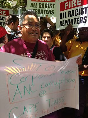 Zackie Achmat - Achmat protesting in support of freedom of the press and against ANC corruption