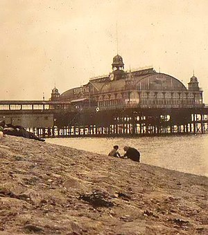 Southend Pier - Pier Pavilion in 1923. Destroyed by fire in 1959, it was replaced in 1962 by a bowling alley. This was destroyed by a fire in 1995. The area is now (2013) open decking.