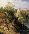 Pieter Stevens II - Mountain Valley with Inn and Castle (detail) - WGA21792.jpg