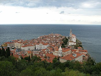 English: Overview of Piran, Slovenia from its ...