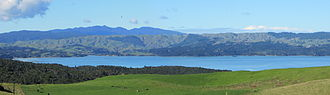 Aotea Harbour - view from Phillips Rd toward Mount Pirongia.