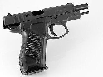 """С 1999 года КНПО  """"Форт """" начало выпускать модификацию пистолета Форт-12 предназначенного для стрельбы резиновыми..."""