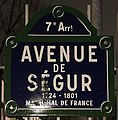 Plaque Avenue Ségur - Paris VII (FR75) - 2018-02-03 - 1.jpg