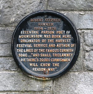 The Song of the Western Men - Plaque commemorating R. S. Hawker at Charles Church, Plymouth