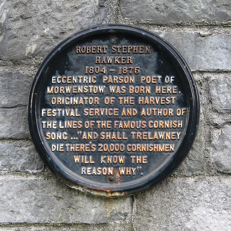 Plaque to Robert Hawker in Charles Church Plymouth