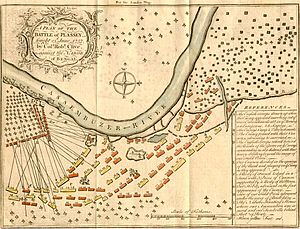 Siraj ud-Daulah - A plan of the Battle of Plassey, fought on 23 June 1757 by Robert Clive against the Nawab Siraj ud-Daulah of Bengal. This is a depiction of the battlefield, with explanations of troop movements.