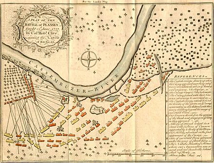 A plan of the Battle of Plassey, fought on 23 June 1757 by Col. Robert Clive, against the Nawab Siraj ud-Daulah of Bengal. This is a depiction of the battlefield, with explanations of troop movements. - Siraj ud-Daulah