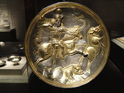 Plate with Shapur II in hunting scene, view 1, Iran, Sasanian period, 4th century AD, silver and gilt - Arthur M. Sackler Gallery - DSC05874.JPG