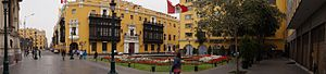 Municipal Palace of Lima - The Municipal Palace of Lima as seen from the Plaza of the Flag