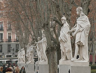 Royal Palace of Madrid - Statues of the Gothic kings in the Plaza de Oriente.