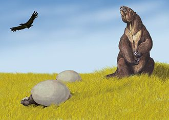 Pleistocene - Pleistocene of South America showing Megatherium and two Glyptodon.