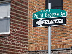 Point Breeze Avenue street sign at its northern terminus at Federal and 20th streets.
