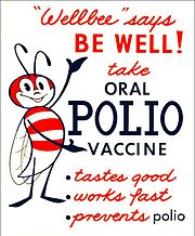 "This 1963 poster featured CDC's national symbol of public health, the ""Wellbee"", encouraging the public to receive an oral polio vaccine."