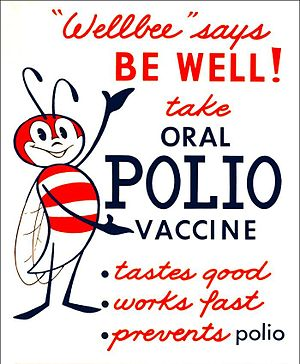 "Polio vaccine - This 1963 poster featured CDC's national symbol of public health, the ""Wellbee"", encouraging the public to receive an oral polio vaccine."
