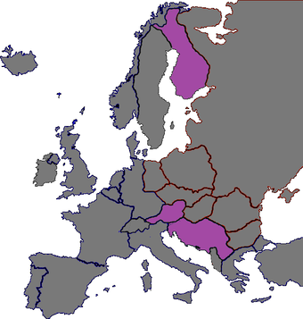 Politically independent states during Cold War: Finland, Austria, Yugoslavia Politically independent Central European states during Cold war.png