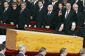 Chen Shui-bian - At the funeral of Pope John Paul II, Chen (far left), whom the Holy See recognized as the head of state of China, was seated in the front row (in French alphabetical order) beside the first lady and president of Brazil.