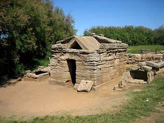 Populonia - The Tomb of the Bronze Statuette of the Offering Bearer in the San Cerbone necropolis at Casone Farm. The tomb and the entire area around it was once deep under slag. The date of the tomb is estimated at 530-500 BC.