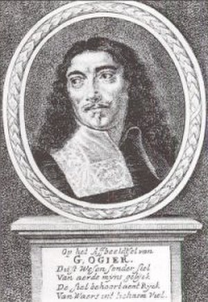"Flemish literature - Portraitt of Willem Ogier, etching by Gaspar Bouttats for the publication of  ""De seven hooft-sonden"" in 1682"
