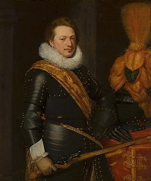 Portrait of an officer, possibly Johan Wolfert van Brederode or Walraven IV van Brederode by Jan van Ravesteyn and workshop Nationaal Militair Museum MH438