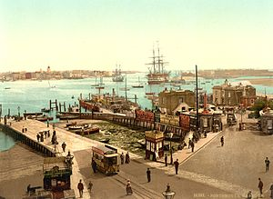 Portsmouth Harbour - The lower end of Portsmouth harbour at the end of the 19th century