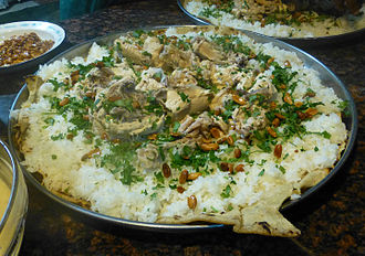 Mansaf, the traditional dish of Jordan. Inspired from Bedouin culture, it is a symbol of Jordanian hospitality. Preparation du mansaf-Jordanie (8).jpg