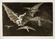 Four or five men fly with contraptions resembling bat's wings attached to their arms.