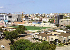 Estádio da Várzea - The stadium in 2010 with the view of Achada de Santo António and Tira Chapéu.  Below on the bottom right is the National Library