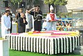Pranab Mukherjee paying homage at the Samadhi of Mahatma Gandhi on his 143rd birth anniversary, at Rajghat, in Delhi on October 02, 2012. The Union Minister for Urban Development, Shri Kamal Nath is also seen.jpg