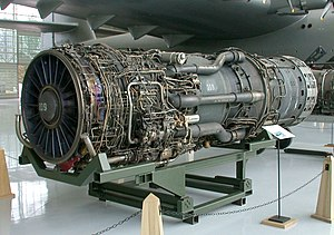 Proudový motor Pratt & Whitney J58 vystavený v Evergreen Aviation & Space Museum