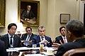 President Barack Obama meets with advisors in the Roosevelt Room of the White House, Oct. 22, 2013.jpg