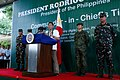 President Rodrigo Duterte delivers a message during his visit at the 10th Infantry Division.jpg