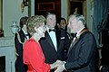 President Ronald Reagan and Nancy Reagan greet Gene Kelly.jpg