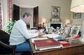 President Ronald Reagan working on State of the Union Speech in the Residence Office.jpg