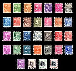 Presidential Issue series of definitive postage stamps issued in the United States in 1938