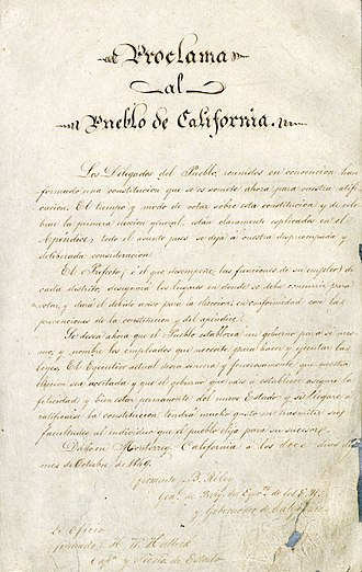 Constitution of California - Image: Proclama al Pueblo de California (1849)