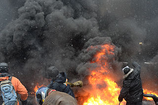 Protesters throwing tires to the fire set by the protesters to prevent internal forces from crossing the barricade line. Kyiv, Ukraine. Jan 22, 2014-2.jpg