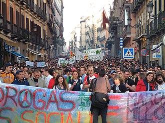 Global Marijuana March - Madrid, Spain. May 8, 2004. Million Joint March (La Marcha del Millón de Porros en Madrid, Mayo 2004), part of the Million Marijuana March.