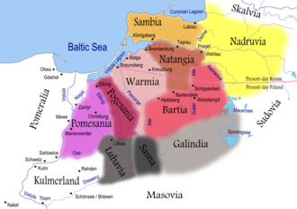 Konrad I of Masovia - Prussian tribes (coloured areas) in the 13th century with Chełmno Land (Kulmerland), white, in the southwest already under control of the Teutonic Order