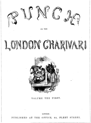 Punch (magazine) - Cover of the first Punch, or The London Charivari, depicts Punch hanging a caricatured Devil, 1841 (see gallery below for enlarged detail)