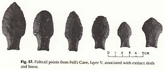Cueva Fell - Fishtail projectile points recovered from Cueva Fell by Junius Bird in the 1930s