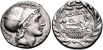 Lutatia (gens) - Denarius of Quintus Lutatius Cerco, circa 109 BC. The obverse depicts the head of Roma, or possibly Mars. The reverse shows a ship within a wreath of oak leaves, alluding to the naval victory of Gaius Lutatius Catulus, and his subsequent triumph.