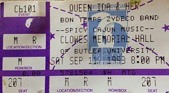 Queen Ida - Image: Queen Ida concert ticket 1993 Stierch