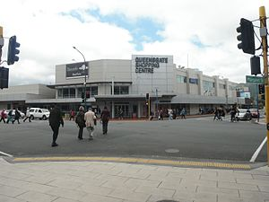 Queensgate Shopping Centre, New Zealand - The centre from the Queens Drive/Bunny Street intersection, December 2016.