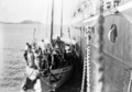 Queensland State Archives 5793 Melbidir II alongside the SS Marella for boarding June 1931.png