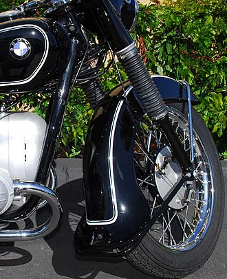 Gaiter (vehicle) - Rubber gaiters on a 1953 BMW R51/3 motorcycle