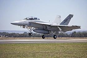 RAAF (A44-222) FA 18F Super Hornet landing.jpg