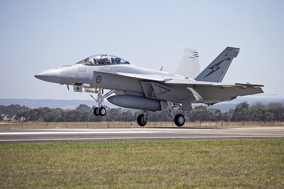 RAAF (A44-222) FA 18F Super Hornet landing